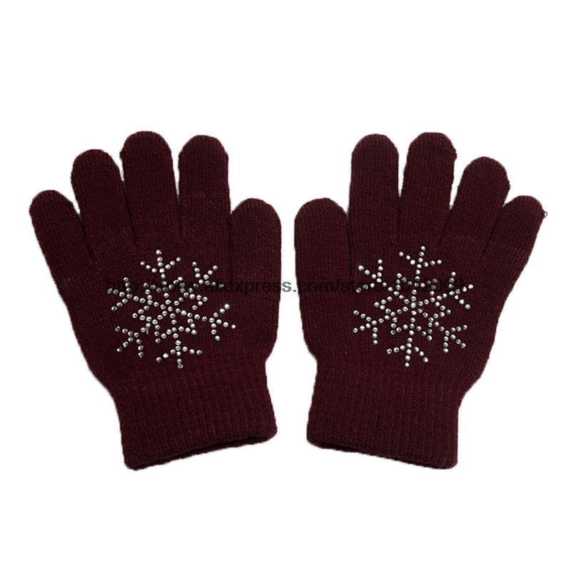 10 Colors Magic Wrist Gloves Figure Skating Ice Training Gloves Exquisite Warm Fleece Thermal Child Adult Snow Rhinestone 12