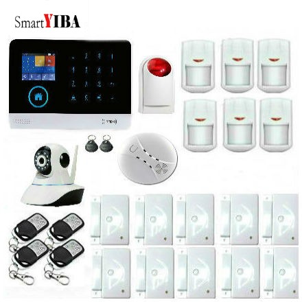 SmartYIBA Wireless GSM Security IP Camera WIFI Home Security Surveillance Alarm System With Wireless Siren Fire Smoke Detector smartyiba wireless wifi gsm gprs rfid home security alarm system home automation system ip camera smoke fire sensor detector