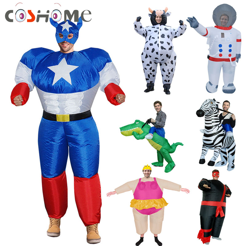 Coshome Sumo Astronaut Dinosaur Inflatable Costumes Funny Clothing Adult Inflatable Jumpsuits For Halloween Party Performance