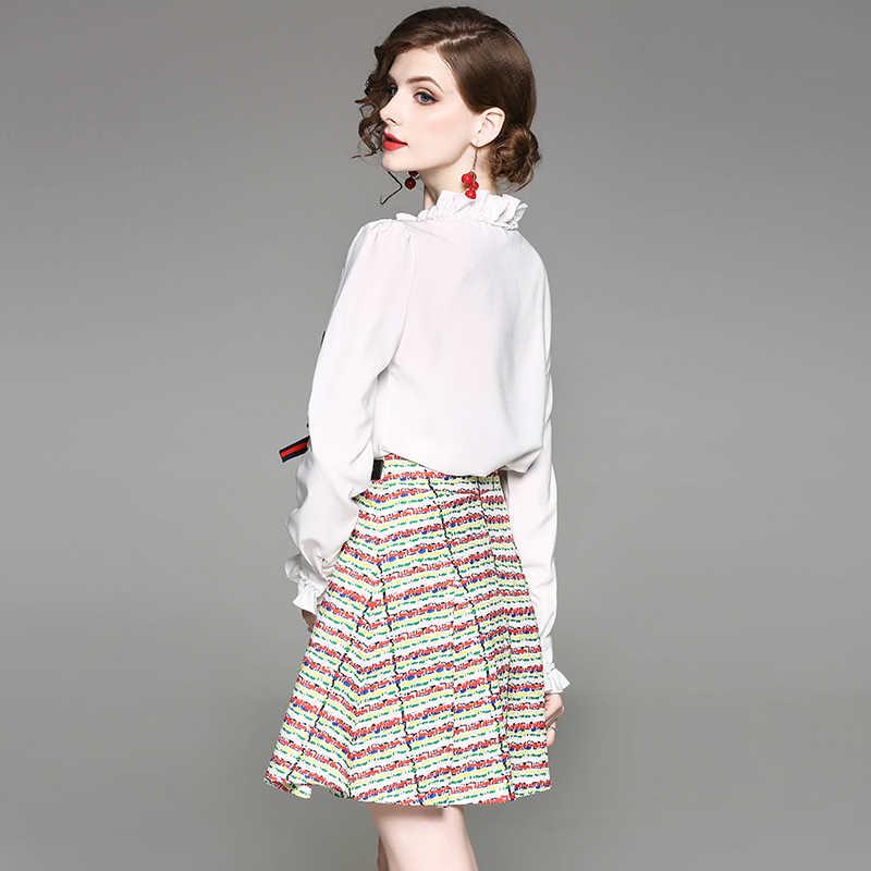 1e3b1e758db ... Лето-Весна женские комплект одежды со стразами и бисером голубой  красный бант белая рубашка + ...