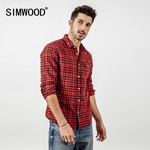 Image 1 - SIMWOOD Brand Casual Plaid Shirt Men 2020 spring Summer High Quality Shirts for men Plus Size High Quality Camisa Male 190164