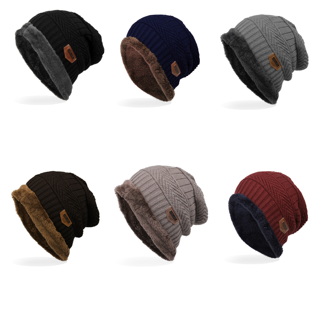 New Men's winter Fall Labeling Knitted Ski Hats Bonnet   Skullies     Beanie   Soft Knitted   Beanies   Cotton 6 Colors