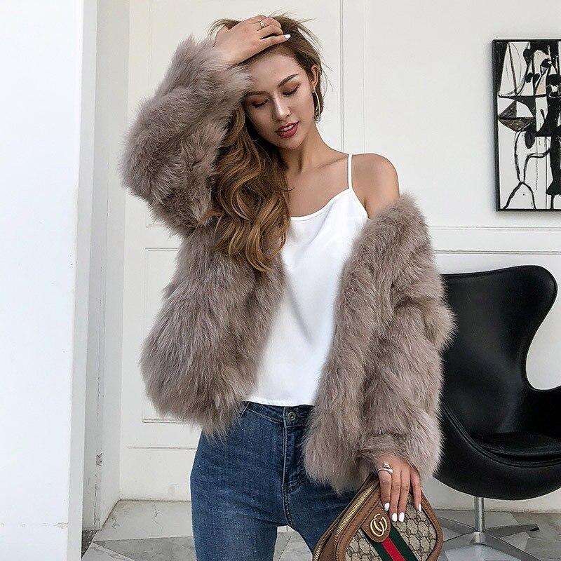 Femmes rubber Fourrure Pink Outwear Renard coffee 2018 Manteau Chaud Femme Mode De Naturel gray Khaki Col Arrivée Réel Veste white Automne Nouvelle V black D'hiver wR4CCqEA