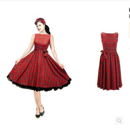 Striped vintage retro 50s 60s dress red Audrey Hepburn european style autumn and winter vestido de festa classic dress