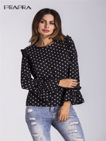 Cheap Wholesale Good Quality Chiffon Blouse Women Flare Sleeve Polka Dot Shirt Frilled Tops Casual Long