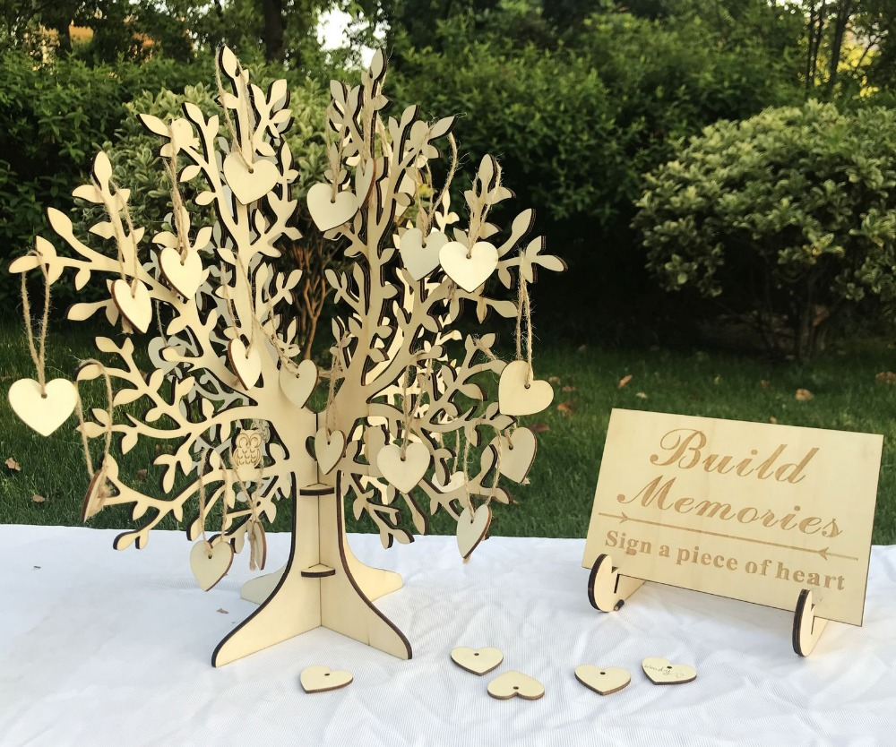 Wood Tree  Wedding Guest Book 3D tree Guest Book Wishing Tree Wooden Hearts Pendant Drop Ornaments for Wedding Party DecorationWood Tree  Wedding Guest Book 3D tree Guest Book Wishing Tree Wooden Hearts Pendant Drop Ornaments for Wedding Party Decoration