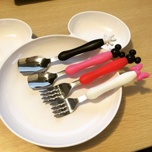 Kids Baby Gift Cartoon  Stainless Newborn Baby Feeding Spoon And Fork Set Kids Bebe Saftey Tableware Cartoon Talheres