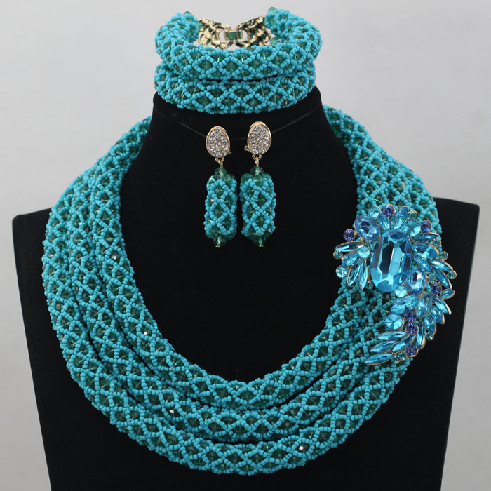2017 Fantastic Blue Wedding Nigerian Beads Jewelry Set African Women Jewelry Accessories for Party Events Free Shipping WD198