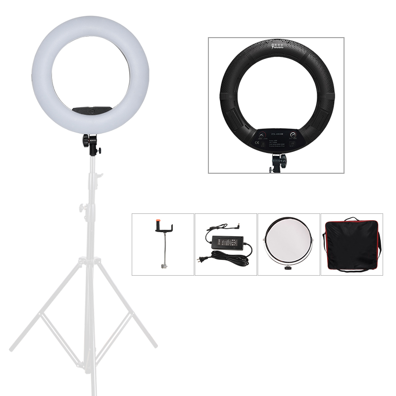 Yidoblo Black FS-480II Camera Photo/Studio/Phone/Video 1855W 480 LED Ring Light + Bag 5500K Photography Dimmable Ring Lamp Kit