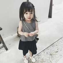 girls sweet small plaid loose vest leisure broad-legged trousers set