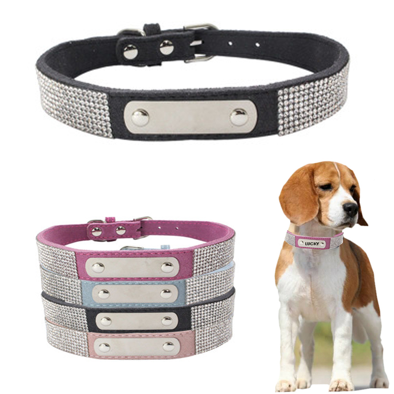Leather Suede Rhinestone Collars Dog Collar 4 Colors Customized Custom Personal ID Adjustable For Small Medium Pet Hot Dog Pupp