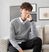 qi002 2018 Spring mens sweater pullovers Simple style cotton knitted V neck sweater jumpers Thin male knitwea