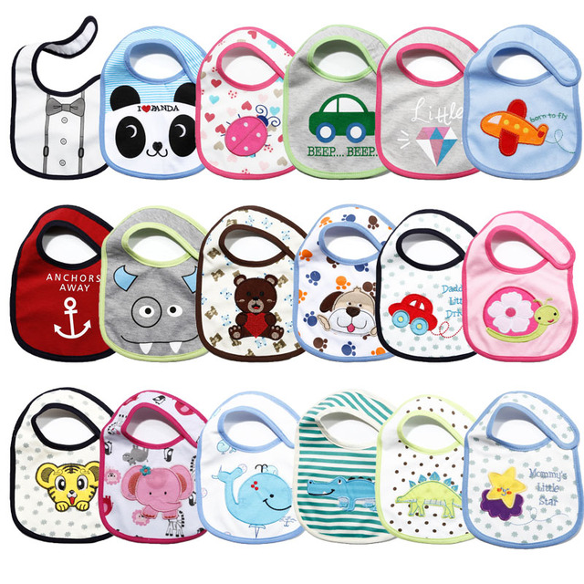 5pcs/lot Carter's Baby Bibs Cartoon Cute Boys Girls Burp Cloths Cotton Waterproof Saliva Towel Newborn Wear Accessories
