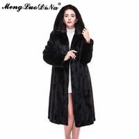 Новое поступление Кофе норковая шуба Для женщин из натурального меха пальто с длинными рукавами большой капюшон Женский пиджаки натуральн