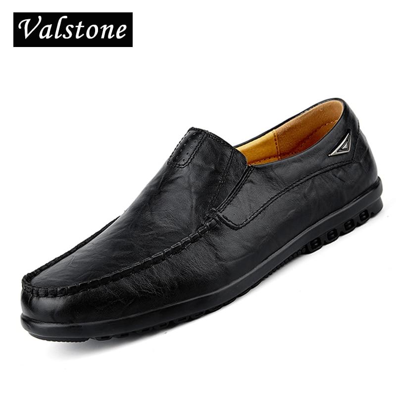 Valstone Populära Läder Skor Män mjuka bekväma Loafers moccasins - Herrskor