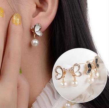 New Fashion Pearl Bow Earrings Ladies Jewelry Wedding Bride India Bohemian Big Earrings Wholesale Gift