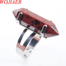 WOJIAER Unique Ring for Women Natural Stone Round Beads Casual Finger Rings Jasper Silver Color Party Jewelry 1P PX3029(China)