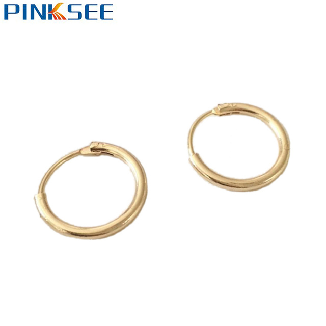 bcc97f94f 1 Pair Simple Chic Piercing Jewelry Round Hoop Earring Cute Small Circle  Earrings For Women Men Jewelry Silver Gold Color
