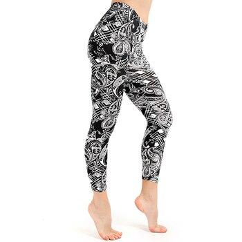 WIILII  Women Legging Black White Digital Printing Leggings High Waist Hip Breathable Polyester Jeggings Slim Women Legging leggings