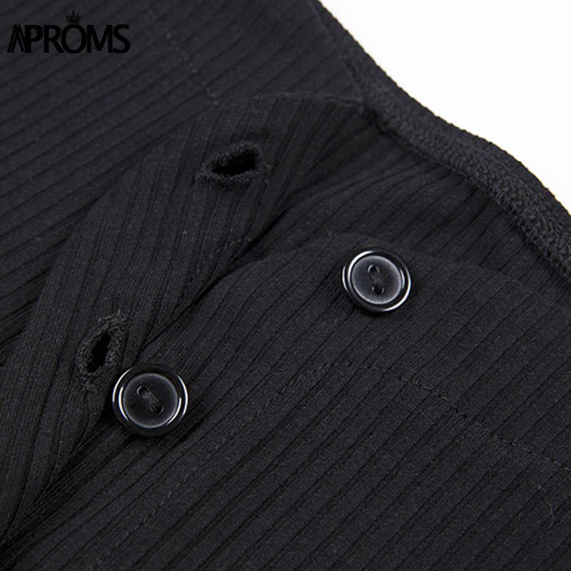 Aproms Off Shoulder Cropped Tank Tops Women Sexy Ribbed Knitted Crop Top Ladies Streetwear Basic Tees Camis 2019