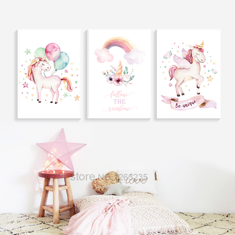 3 Unicorn Prints Girls Personalised Name Nursery Wall Art Posters Pictures