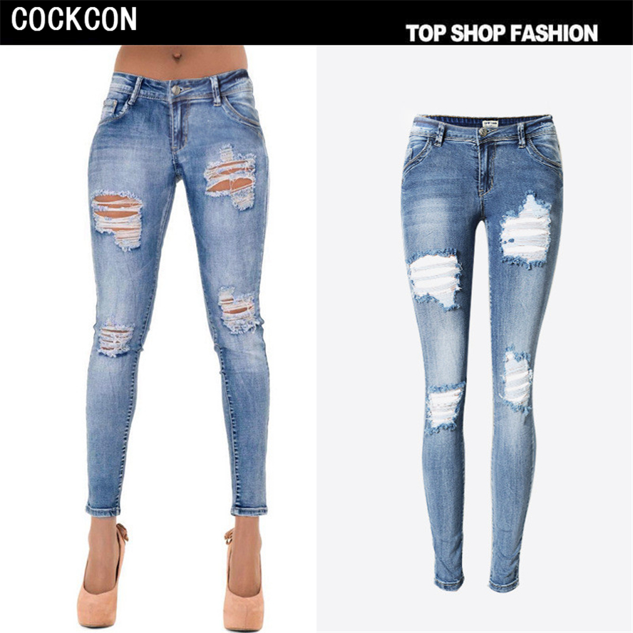 COCKCON 2017 spring new Women Jeans sweet ripped hole denim jeans pockets ankle length pants ladies