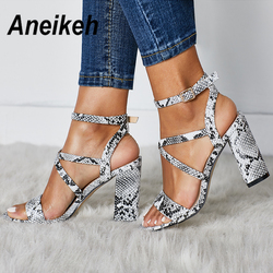 Aneikeh 2019 Summer New PU Shoes Women Sandals Sexy Open Toe Gladiator High Heels Women Shoes Big Size 41 42 Sandalias mujer 2