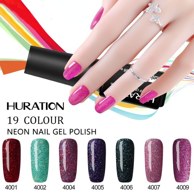 Huration Gel Polish Diy Neon Nail 7ml Long Lasting Uv Led Semi Permanent