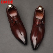 OMDE British Style Pointed Toe Men Formal Shoes Fashion Lace-up Business Dress Shoes Leather Shoes Handmade Wedding Shoes недорого