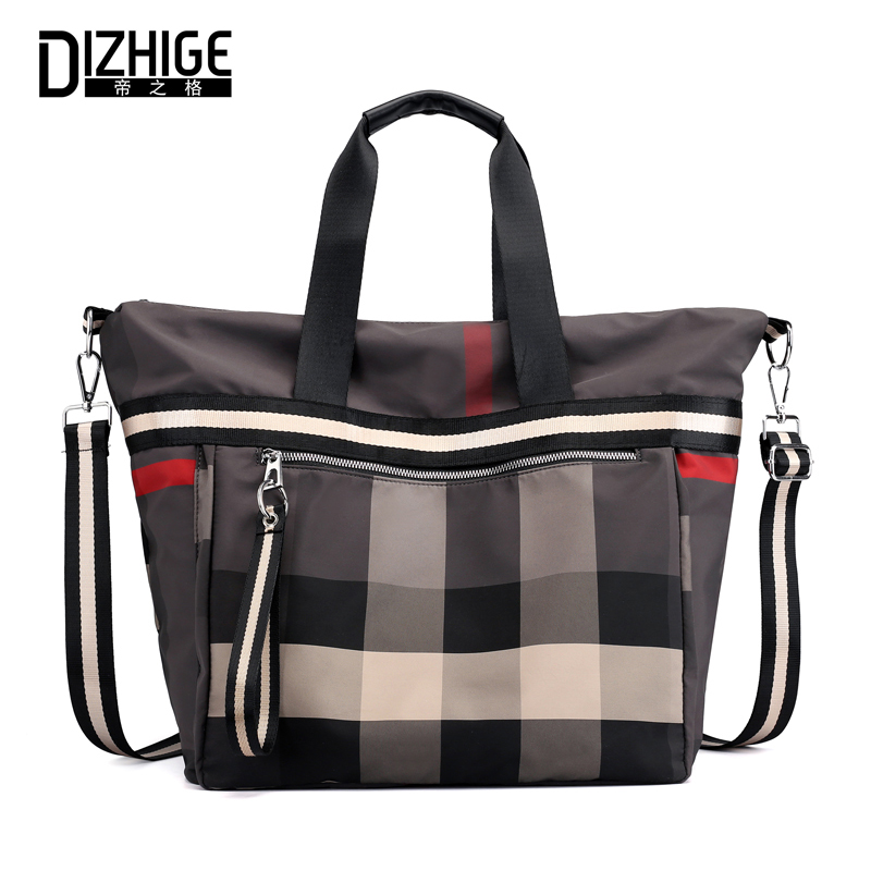 DIZHIGE Brand Large Capacity Women Handbag Nylon Shoulder Bags High Quality School Bags For Teenager Girls Plaid Messenger Bag все цены