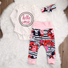 children long sleeve letter T shirt Girl print Romper Pant spring Set casual Clothes
