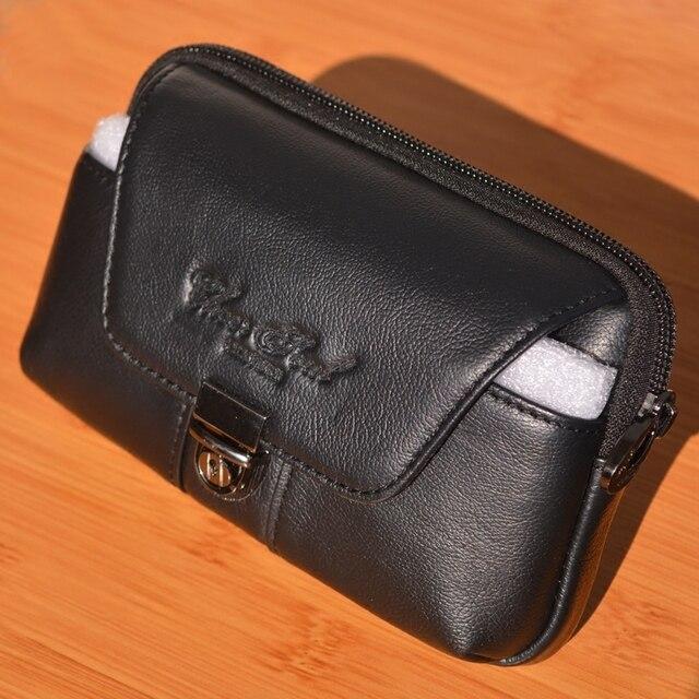 2016 venta Caliente Bolso de La Cintura de Cuero Genuino Moda Hombres Dos opcionales de Celular/Teléfono Móvil de Bolsillo Monedero Cinturón Bum bolsa Male