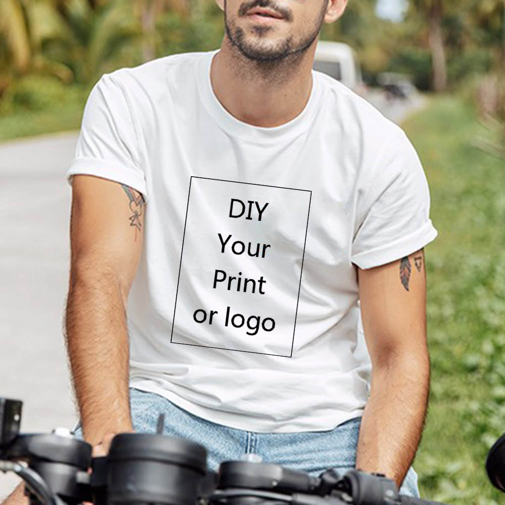 QIM Customized Print T Shirt for Men Print DIY Your like Photo or Logo 5 Color Top Tees T shirt Men 39 s Plug Size Fashion T Shirt in T Shirts from Men 39 s Clothing