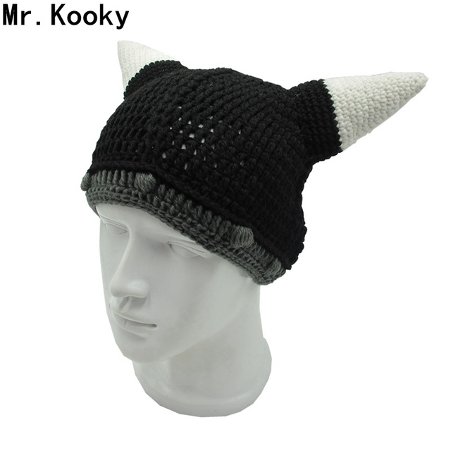 95435e1cefc Mr.Kooky Vikings Horn Beanie Men s Women s Helmet Hat Handmade Crochet  Gorro Halloween Birthday Xmas Unique Gift Winter Warm Cap