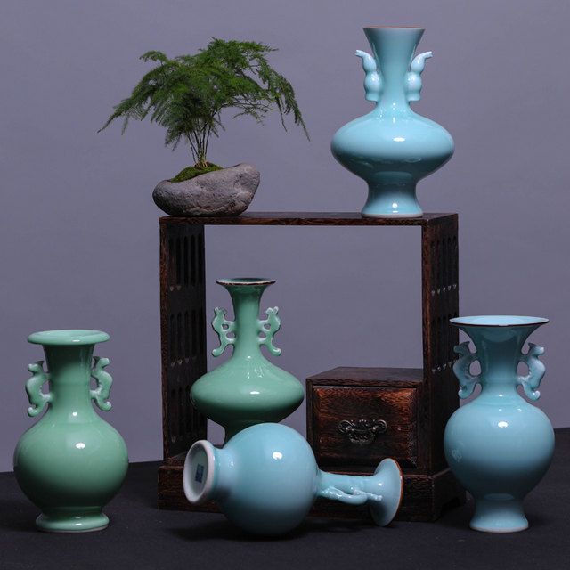 Jingdezhen Ceramic Vase Flower Vase Ornaments Shadow Celadon Ears