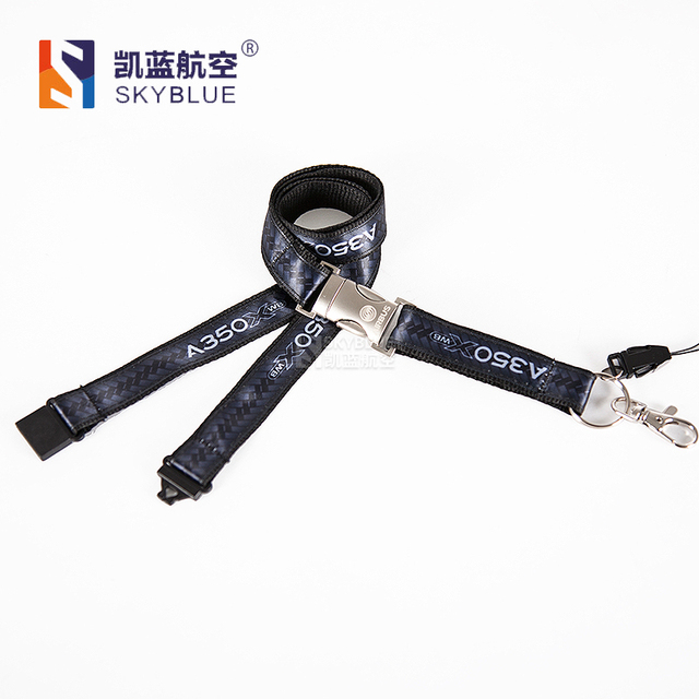 Airbus A350 Black Lanyard with Metal Buckle