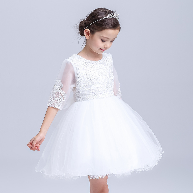 2018 Spring New Style Kids Girls White Lace Wedding Dress Costumes Flower Girl Princess Party/Birthday/Performer/Host Dress 2016 spring new girls cheongsam princess dress flower girl birthday costumes embroidered flower tutu dress or with wrap 2pcs