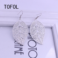 TOFOL Silver Color Jewelry Sets Women Hollow Leaf Drop Earrings And Pendant Necklace Set For Female Jewelry Gift