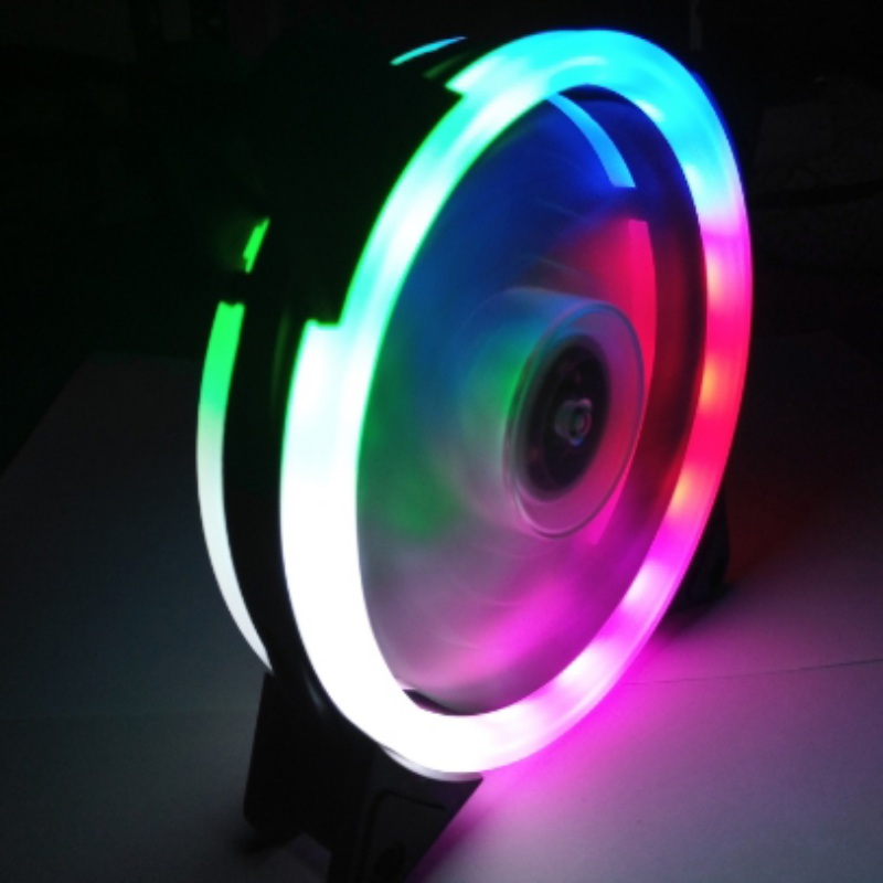 120mm Double Aperture Multicolored LED Computer Case PC Cooling Fan RGB Adjust Quiet + IR Remote Cooler Fans For CPU 2200rpm cpu quiet fan cooler cooling heatsink for intel lga775 1155 amd am2 3 l059 new hot