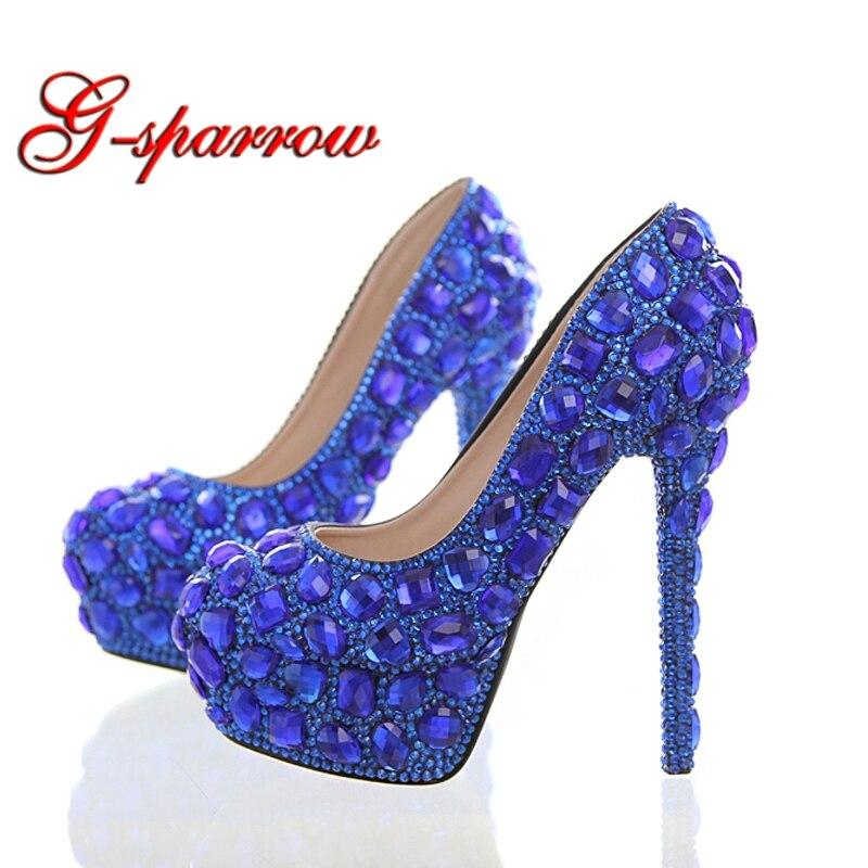 Royal Blue Rhinestone Bridal Dress Shoes Super High Heel