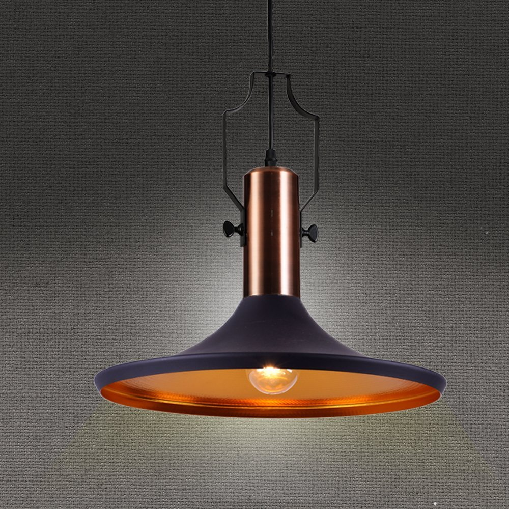 Retro Industrial Pendant Light Black Metal Antique Pendant Ceiling Light Shade ...