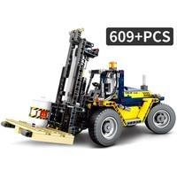 609PCS Legoed Technic Assemble Forklift Crane Construction Vehicle Model Building Blocks Compatible Legoed Educational Toys Kids