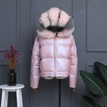 Real Fox Fur 2019 Winter Jacket Women Real Fur Collar Silver Golden White Duck Down Coat Double Sided Hooded Waterproof Parkas image