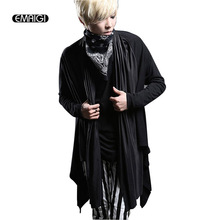 New Mens Sweater Long Sleeve Cardigan Coat Male Fashion Punk Gothic Style Jacket Overcoat Street Rock Hiphop Coat