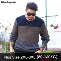 8xl Plus Size Mens Sweater Winter Oversize Pullover Big Size Men Clothing Large Sizes Knitted Patchwork