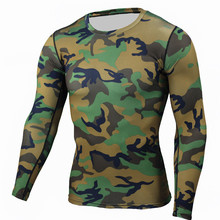 Camouflage Men MMA Compression Shirts Rashguard Fitness Long Sleeves Base Layer Skin Tight Weight Lifting Men