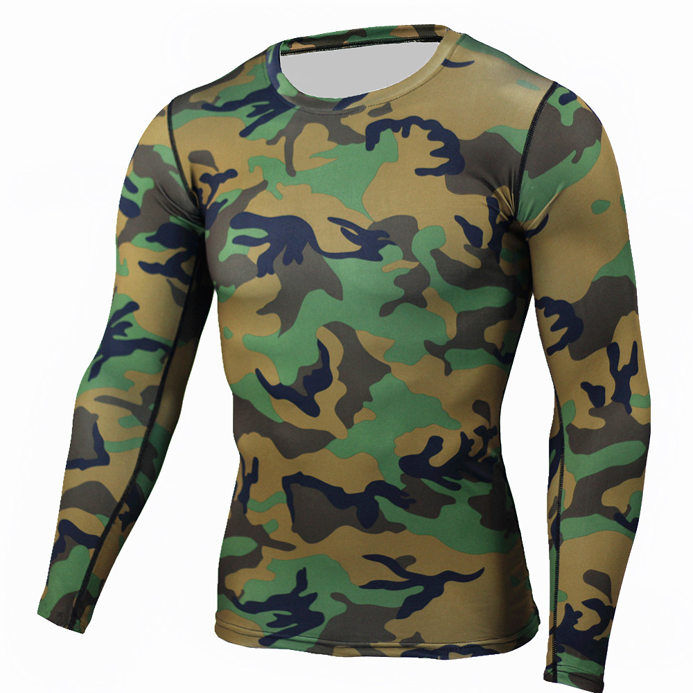 Camouflage Men MMA Compression Shirts Rashguard font b Fitness b font Long Sleeves Base Layer Skin