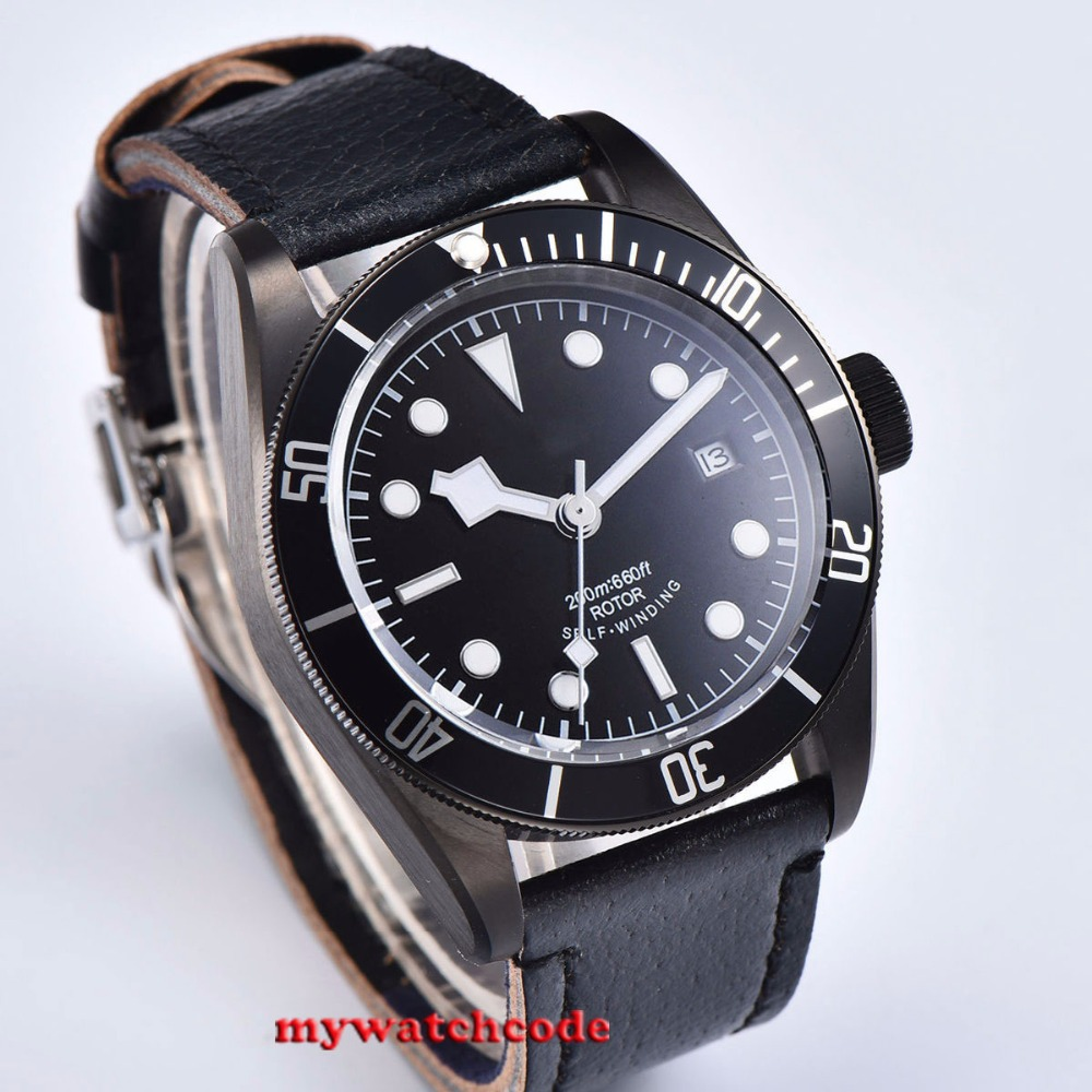 41mm corgeut black sterile dial white marks PVD case date Sapphire Glass automatic men Watch watch automatic men watch men watch men automatic -