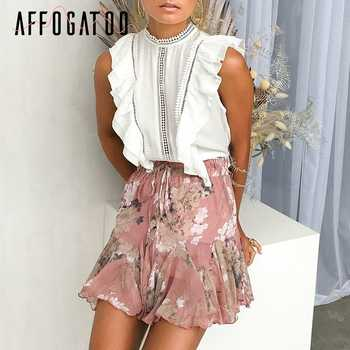 Affogatoo Casual ruffle bohemian floral print skirt women Elastic boho short skirt female High waist holiday beach summer skirt