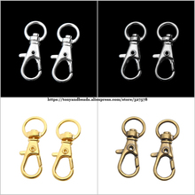 (20Pcs=1Lot !) Free Shipping 32x13mm Lobster Clasp Bag Key Rings Silver Tone Keychain Pick Color